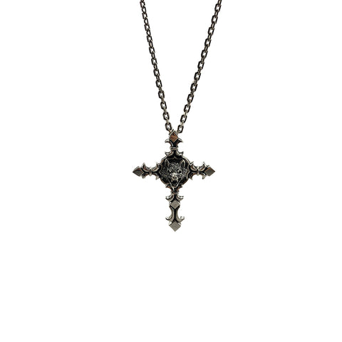Big Cross Floury with Wolf Head Sterling Silver Necklace