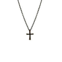 Shinny Byzantine Cross with Engraved Small Cross Sterling Silver Necklace