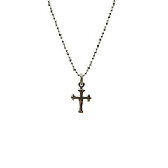 Small Shinny Cross Floury Sterling Silver Necklace