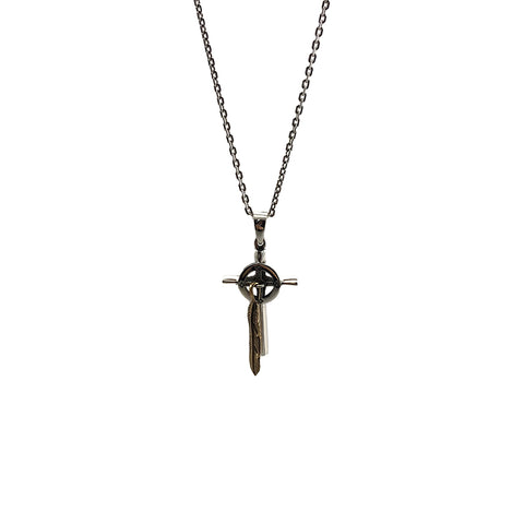 Shinny Serbian Orthodox Cross with Gold Feather (Small Size) Sterling Silver Necklace