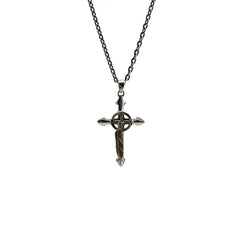 Shinny Serbian Orthodox Cross with Gold Feather (Big Size) Sterling Silver Necklace