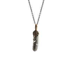 Big Feather with Cutout Gold Leaf Sterling Silver Necklace