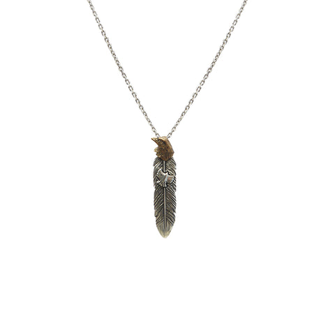 Feather with Gold Eagle Head Sterling Silver Necklace