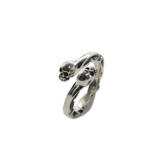 2 Small Skull Wrap Adjustable Sterling Silver Ring