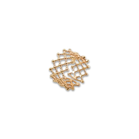 Net Patten Rose Gold Sterling Sliver Ring