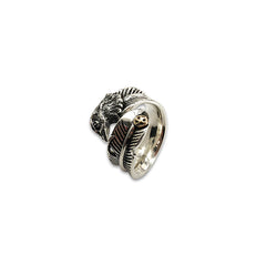 Feather with Front Eagle Face Adjustable Sterling Silver Ring