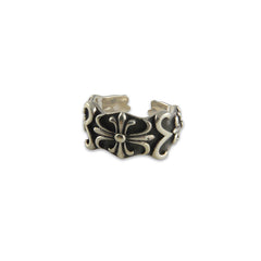 Embossed Curve fleur de lys Sterling Silver adjustable Ring