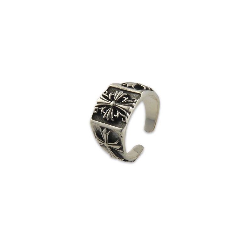 Embossed fleur de lys Sterling Silver adjustable Ring