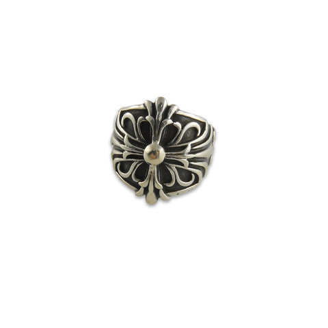 Embossed big fleur de lys Sterling Silver adjustable Ring