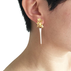 Vase Flower Gold Sterling Silver Earrings