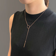 Cutout Circle With Bar Rose Gold Short Necklace