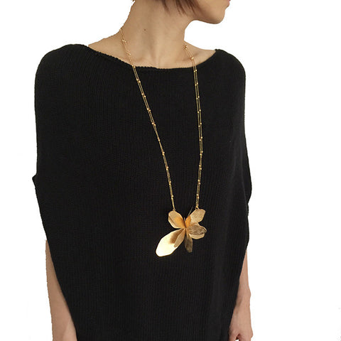 Big Butterfly Gold Long Necklace