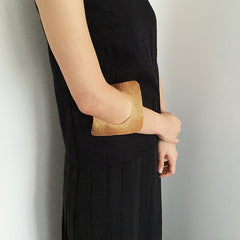 Square Disc Gold Bangle
