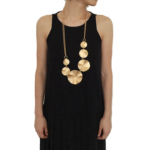 Chain of Orbicular Gold Long Necklace