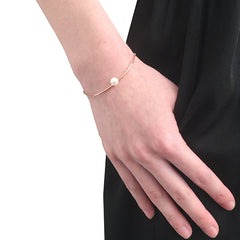 Curve Bar With Pearl Rose Gold Sterling Silver Bracelet