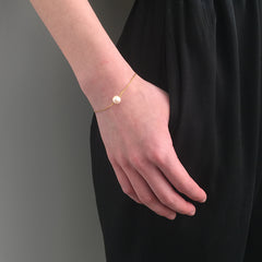 Big Pearl Gold Sterling Silver Bracelet