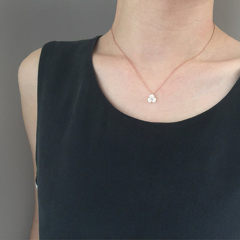 Mini Mother Of Pearl Flower Rose Gold Sterling Silver Short Necklace