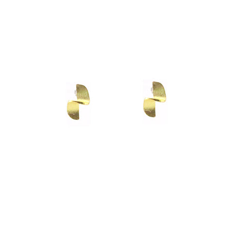 Half Twisted Drum Gold Sterling Silver Studs