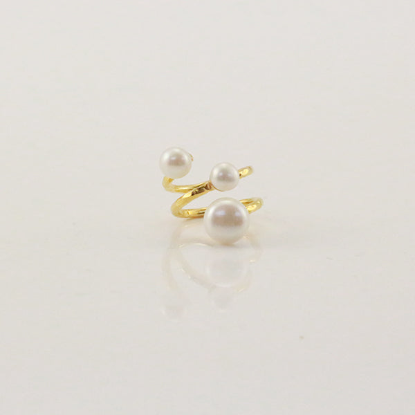 Slinky Wire Trio Pearls Gold Sterling Silver Ring