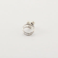 Slinky Wire Trio Pearls Sterling Silver Ring