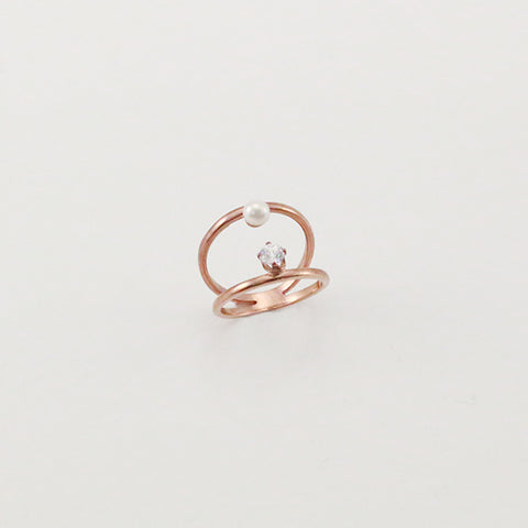 Pearl & CZ Duo Line Rose Gold Sterling Silver Ring