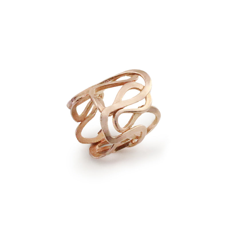 Cutout Crown Rose Gold Sterling Silver Adjustable Ring