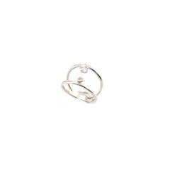 Pearl & CZ Duo Line Sterling Silver Ring