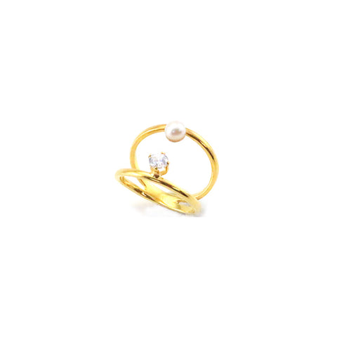 Pearl & CZ Duo Line Gold Sterling Silver Ring