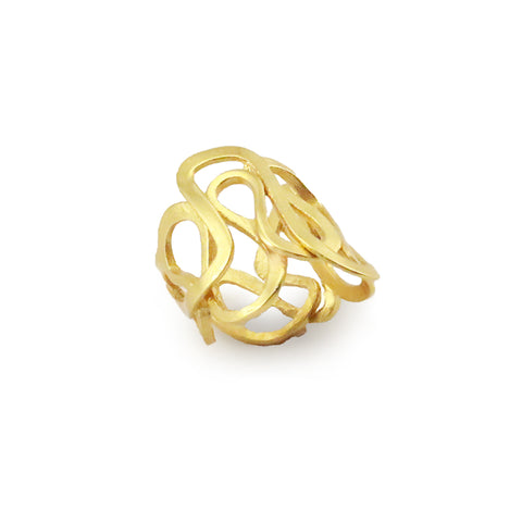 Cutout Crown Gold Sterling Silver Adjustable Ring