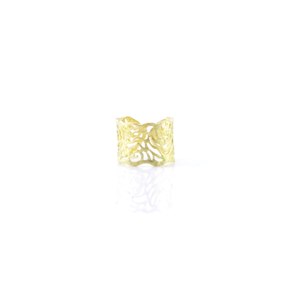 Cutout Wavy Pattern Gold Sterling Silver Ring