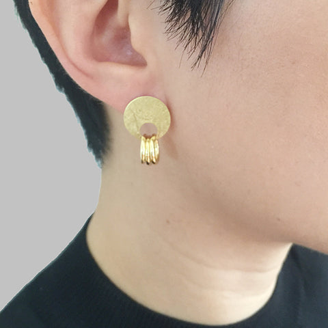 Circle & Trio Cutout Circle Gold Sterling Silver Studs