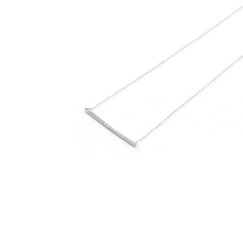 Horizontal Bar With CZ Sterling Silver Short Necklace
