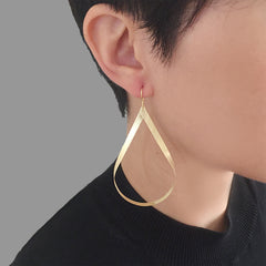 Big Cutout Twisted Waterdrop Gold Sterling Silver Earrings