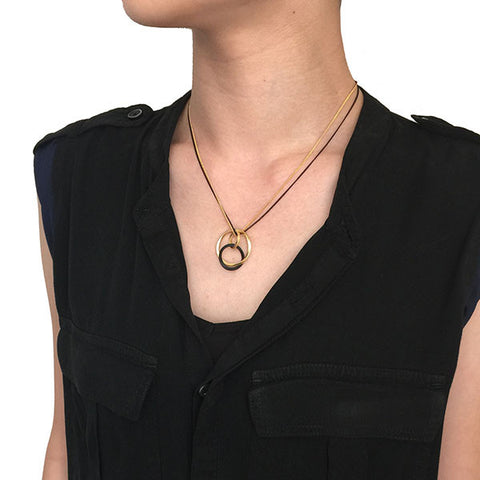 Endless Loops Gold & Black Short Necklace