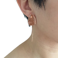 Hammered Non-Symmetrical Oval Leaf Rose Gold Pull-Thru Earrings