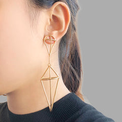 Geometry Waterdrop & Diamond Gold Studs