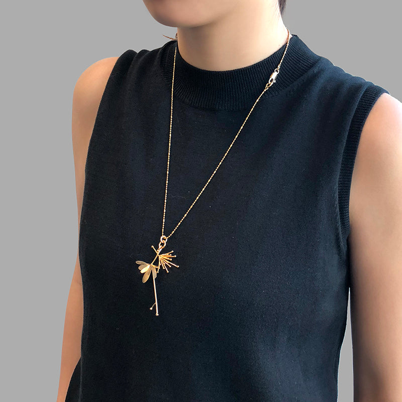 Butterfly Flower Gold Short Necklace