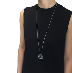 Gycrocone Sliver & Black Long Necklace