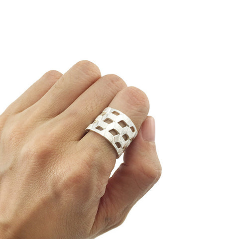 Basic Cutout Parallelogram Sterling Silver Ring