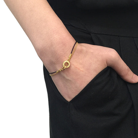 Duo Cutout Circle Gold Bracelet