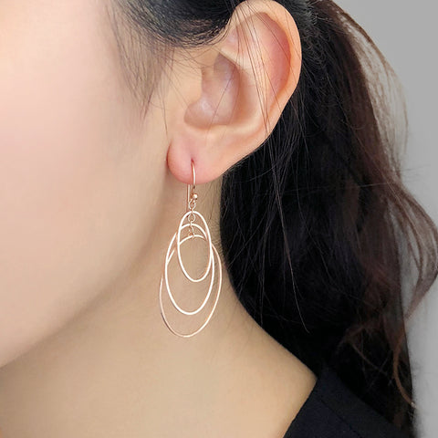 Trio Cutout Oval Rose Gold Sterling Sliver Drop Earrings