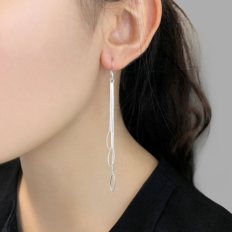 Trio Cutout Waterdrop With Chain Sterling Sliver Drop Earrings