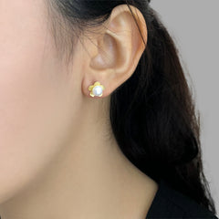 Flower Shaped Pearl Sterling Gold Studs