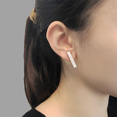Circle Shape With Wings & White Marble Stone Gold Studs