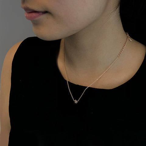 Solid Cube Rose Gold Short Necklace