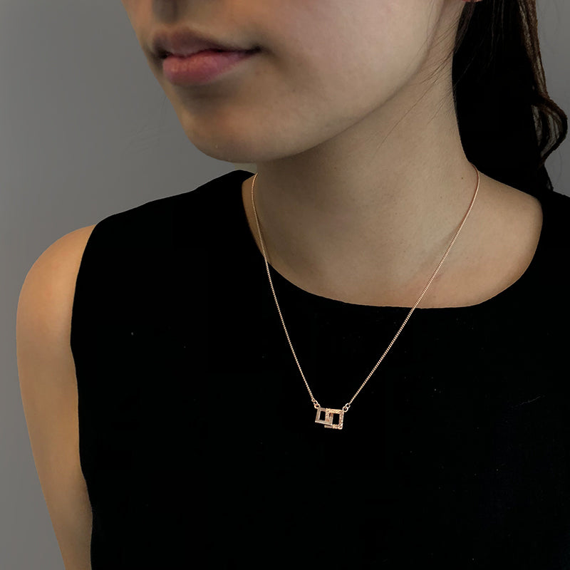 Duo Cutout Square Rose Gold Short Necklace