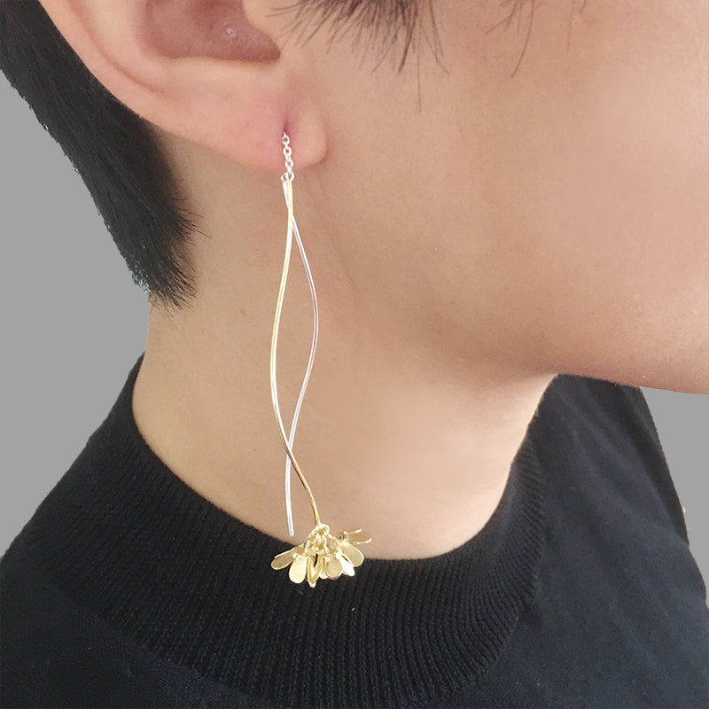 Hydrangea Dangle Gold Sterling Sliver Pull-Thru Earrings