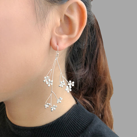 Branch with Creeping Phlox Sterling Silver Earrings