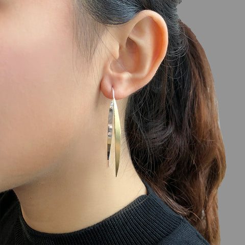 Duo Thin Long Leaf Gold Sterling Silver Pull-Thru Earrings