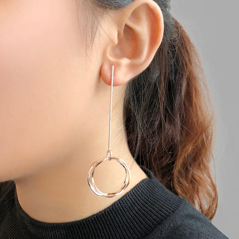 Trio Cutout Wave Circle Rose Gold & Sliver Pierced Earrings